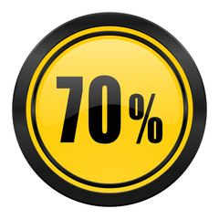 70 percent icon, yellow logo, sale sign