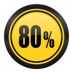 80 percent icon, yellow logo, sale sign