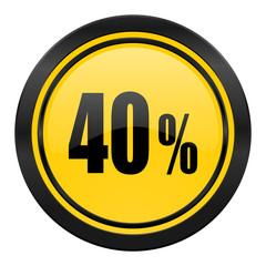 40 percent icon, yellow logo, sale sign