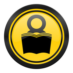 book icon, yellow logo, reading room sign, bookshop symbol