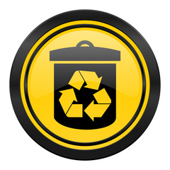 recycle icon, yellow logo, recycling sign