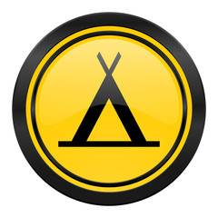camp icon, yellow logo,