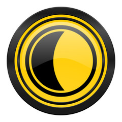 moon icon, yellow logo, sleep sign