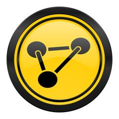 chemistry icon, yellow logo, molecule sign