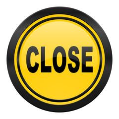 close icon, yellow logo,