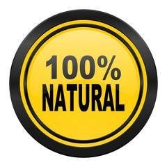 natural icon, yellow logo, 100 percent natural sign