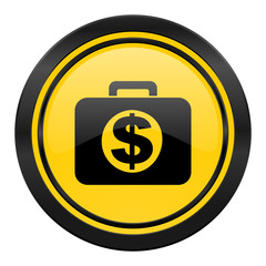financial icon, yellow logo,