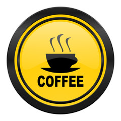 espresso icon, yellow logo, hot cup of caffee sign