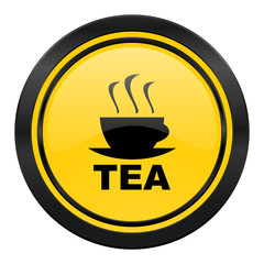 tea icon, yellow logo, hot cup of tea sign