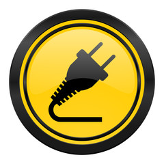plug icon, yellow logo, electricity sign