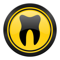 tooth icon, yellow logo,