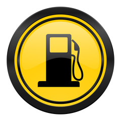 petrol icon, yellow logo, gas station sign