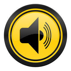 volume icon, yellow logo, music sign