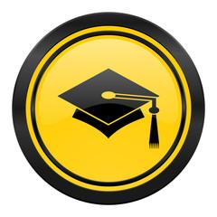 education icon, yellow logo, graduation sign