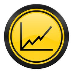 chart icon, yellow logo, stock sign