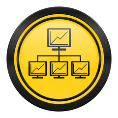 network icon, yellow logo, lan sign