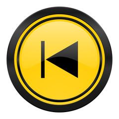previous icon, yellow logo,