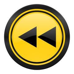 rewind icon, yellow logo,