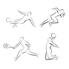 Sports men's outlines.