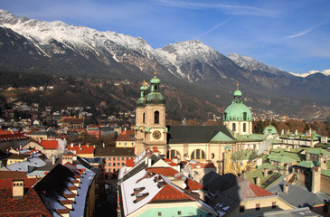 City, cathedral, mountains. Innsbruck, Austria