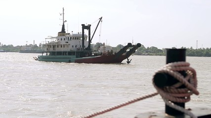 ship floating on river in India