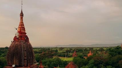 beautiful pagoda at sunset in Bagan