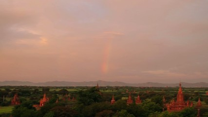 beautiful panorama with pagodas and rainbow