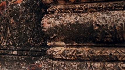 wall of  ancient pagoda in  mold