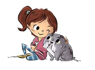 niña jugando con su perro