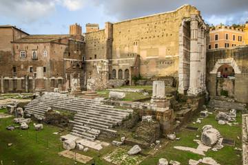Fori Imperiali, foro di Augusto al tramonto - Roma