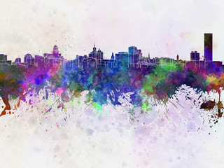 Buffalo skyline in watercolor background