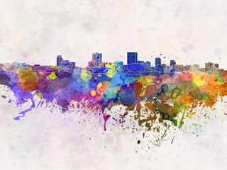 Anchorage skyline in watercolor background
