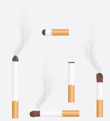 Burning cigarettes. Vector