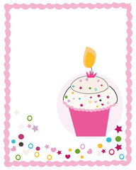 Happy birthday greeting card with cupcake and candle