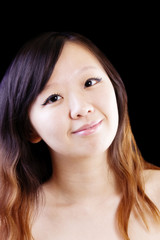 Bare Shoulder Portrait Young Attractive Chinese Woman