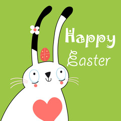 greeting card with bunny for Easter