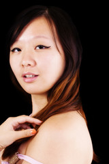 Over The Shoulder Portrait Attractive Chinese Woman