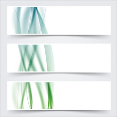 blue green header footer wave swoosh lines banner set