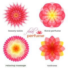 pink-flowers-set-logo-icon-floral-fragrance