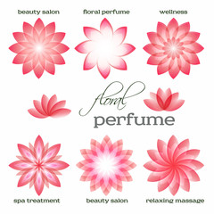 pink-flowers-set-logo-icon-floral-aroma