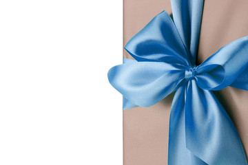greeting card with blue bow on the white background