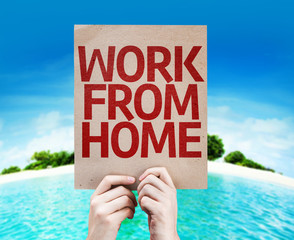 Work From Home card with beach background