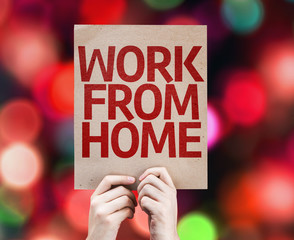 Work From Home card with colorful background