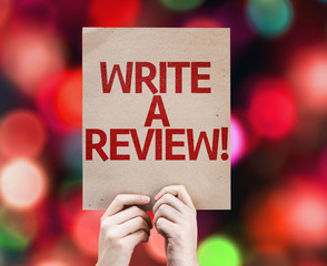 Write a Review card with colorful background