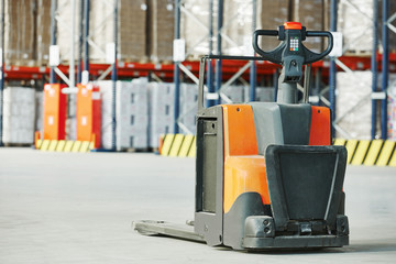 pallet stacker truck at warehouse