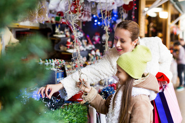 Happy woman  at Christmas market