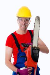 wild man with chain saw