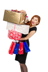 Happy, beautiful redhead young woman, stand with gift boxes? and