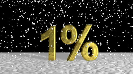 Close up Golden 1% on Snow Graphic Design