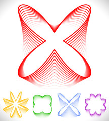 Set of different petal, flower like abstract shapes